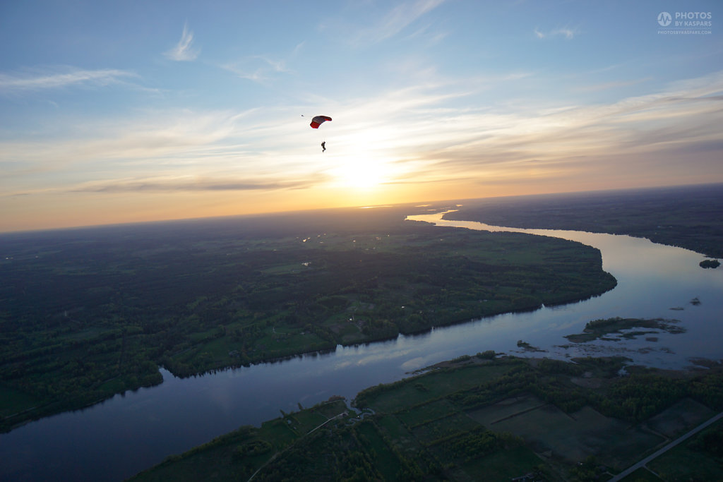 Sunset flying near river Daugava